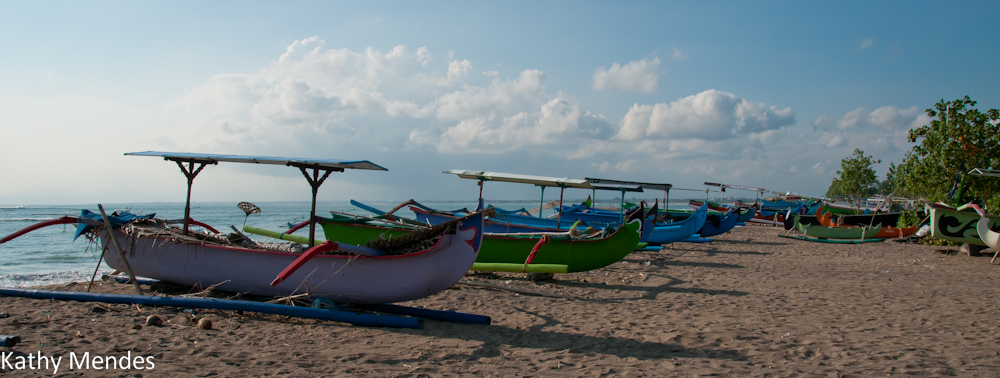 Outriggers on the Beach in Kuta, Bali