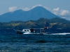 A dive boat heading out to the dive site in North Sulawesi.