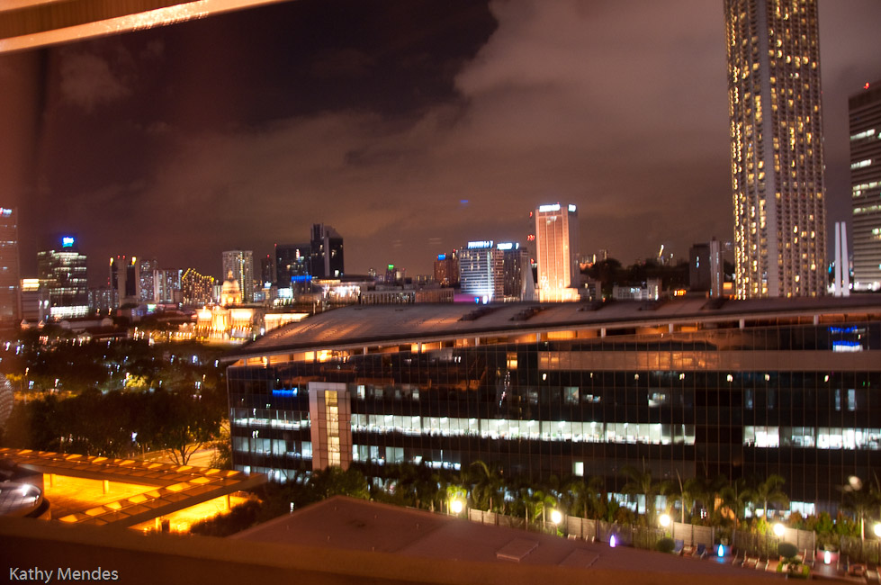 Night view of Singapore from our window at the Marina Mandarin.