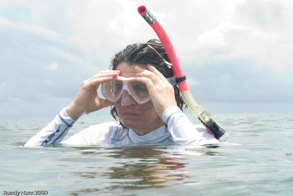 Me, clearing my mask while snorkeling.
