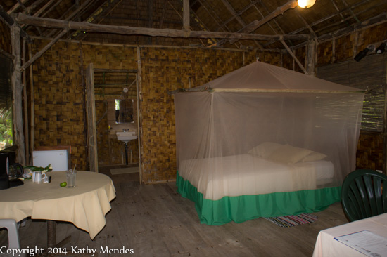 Inside my lohm at Kosrae Village Ecolodge.