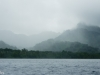 Rain on the mountains of Kosrae from the water.
