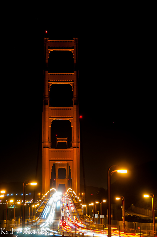 Close up of one of the towers of the Golden Gate Bridge.