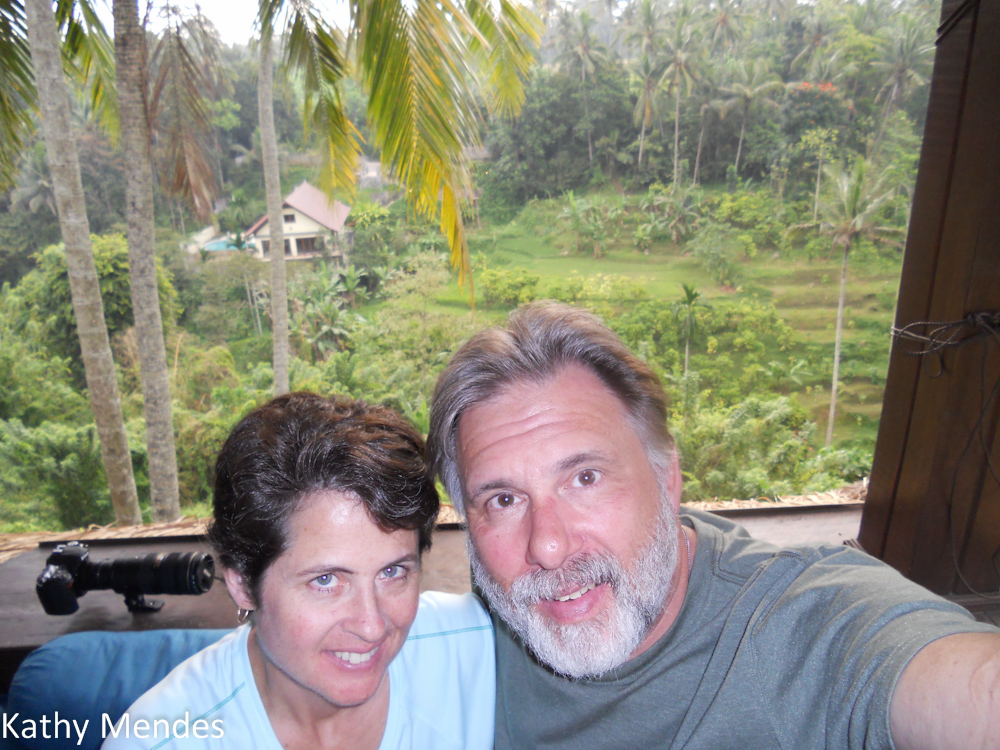 Randy and I with the view from our veranda in the background.