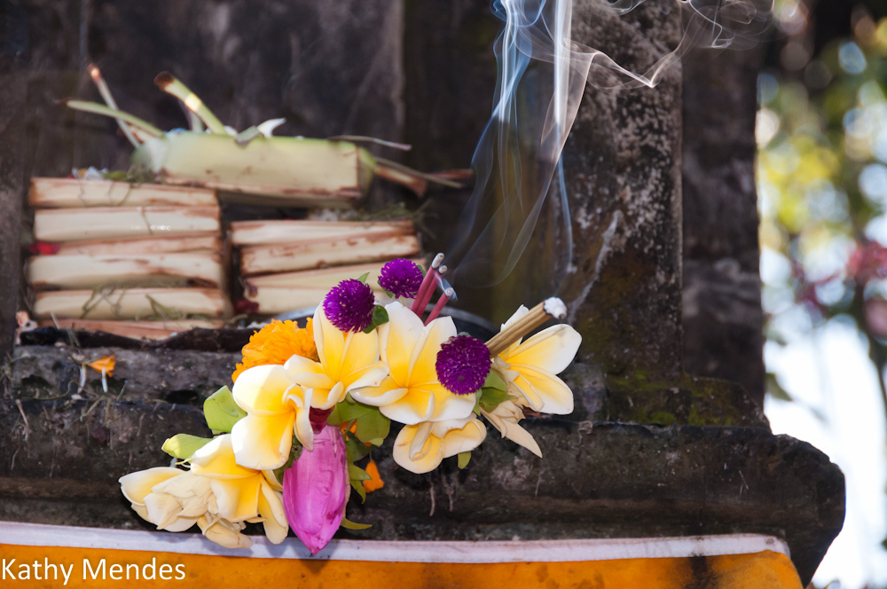 Offerings to the gods include flowers, incense and spices.