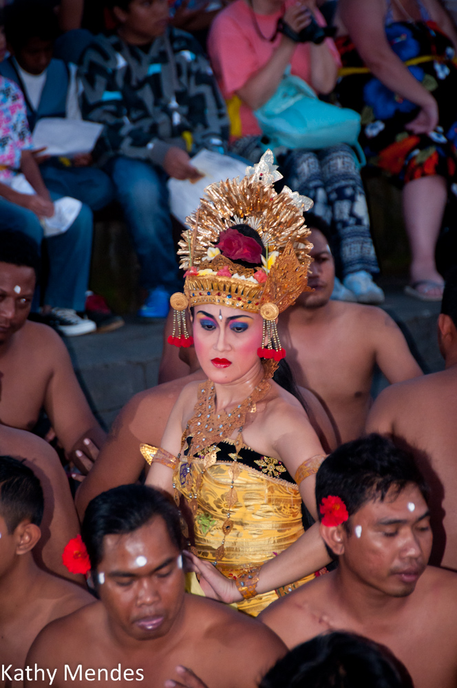 Bali Dancer and Chanting Men