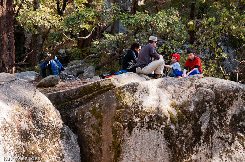 What better place for a snack break on the trail to Vernal Falls?