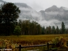 Yosemite Falls from across the valley in the rain.