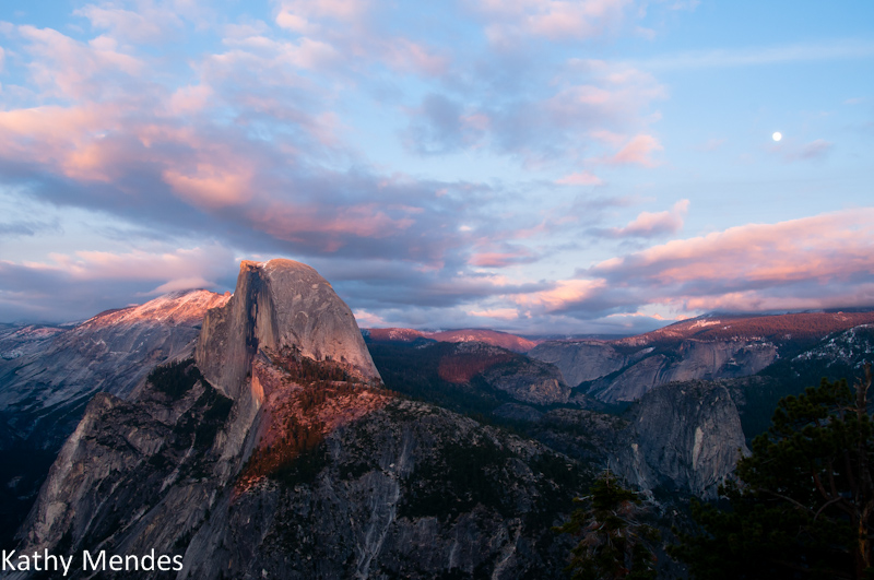 Half Dome at Sunset with Clouds