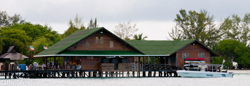 First view of Lankayan Resort is of the dive locker and boat dock.