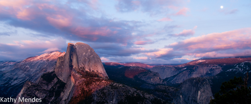 Half Dome at Sunset with Full Moon