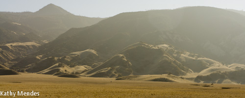 View of dry mountains along Panoche Road.