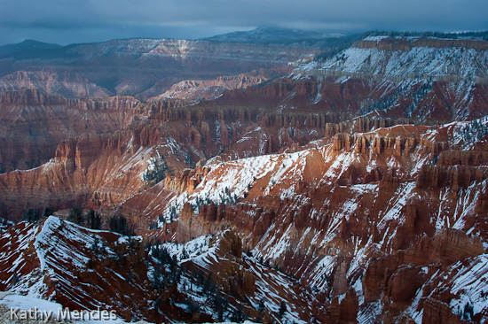 Red Rock Canyons Dusted with Snow at Cedar Breaks National Monument, Utah