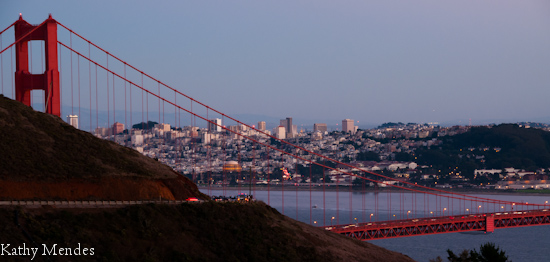 Sunset on the city by the bay, San Francisco and the Golden Gate.