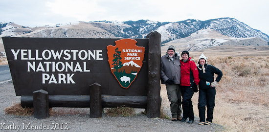 Randy, Kathy and Chris at Yellowstone's North Gate