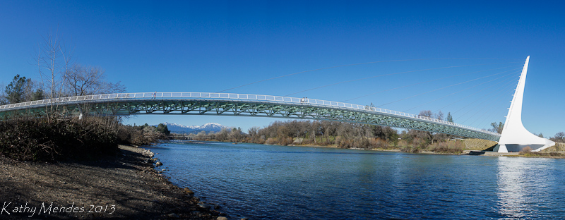 The Sundial Bridge stretches over the Sacramento River.
