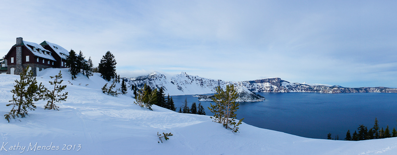View of the lodge and Crater Lake in the deep snow.