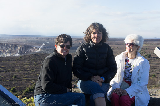 Mom, Lisa and I in front of the Kilauea Caldera.