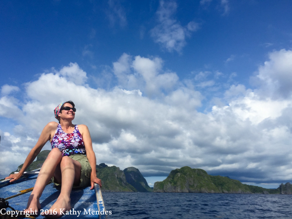 Enjoying being on the ocean, exploring the beautiful islands of Palawan near El Nido.