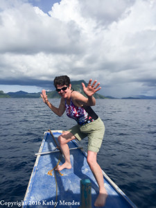 Hanging ten on my tour boat in El Nido!