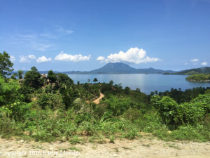 View looking over bay in Palawan, from van.