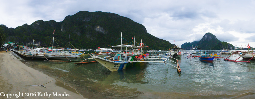 Colorful Tour Boats Line Beach in El Nido