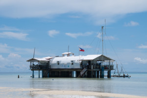 The rangers at Tubbataha Reefs Natural Park live in this ranger station on a sand bar.